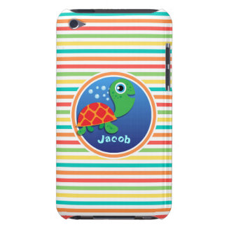 Sea Turtle Bright Rainbow Stripes Barely There iPod Cases