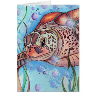 Sea Turtle Buble Design Card