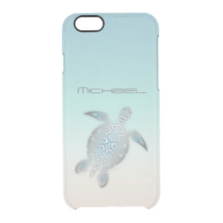 Sea Turtle Costal Silver Clear Monogram Clear iPhone 6/6S Case