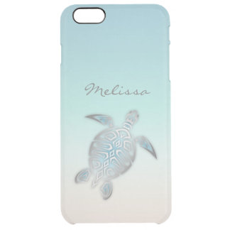 Sea Turtle Costal Silver Clear Monogram Clear iPhone 6 Plus Case