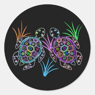 Sea Turtle Glow Round Sticker
