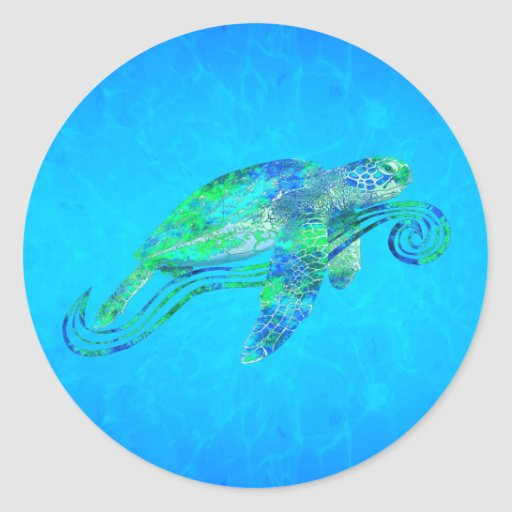 Sea Turtle Graphic Round Sticker