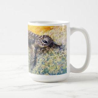 Sea turtle hatchling entering the surf basic white mug