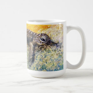 Sea turtle hatchling entering the surf coffee mug