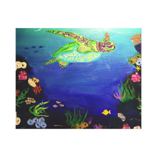 Sea Turtle in the coral reef Canvas Print