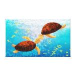 "Sea Turtle Kiss Medium - ""Float Up"" Stretched Canvas Prints"