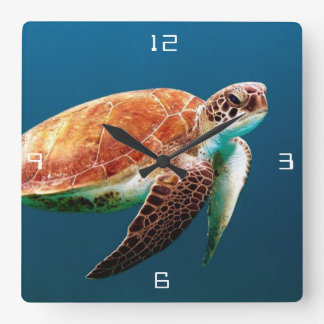 Sea Turtle Large Square Wall Clock