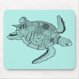 Sea Turtle Lineart Design Mouse Pad