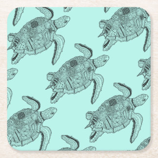 Sea Turtle Lineart Design Square Paper Coaster