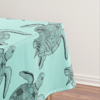 Sea Turtle Lineart Design Tablecloth