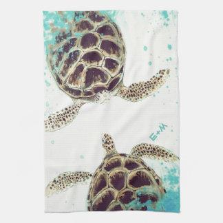 Sea Turtle Love Monogram Personalized Tea Towel