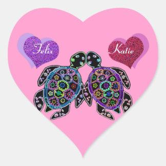 Sea Turtle Love Song Heart Sticker