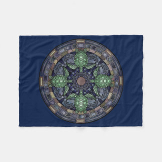 Sea Turtle Mandala Green Blue Brown Ocean Water Fleece Blanket