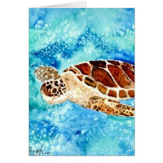 sea turtle marine sealife watercolor painting card