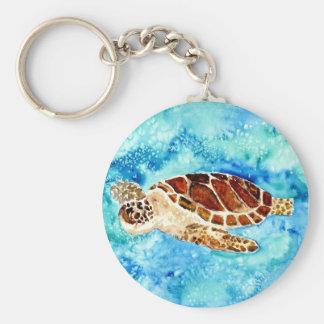 sea turtle marine sealife watercolor painting key ring