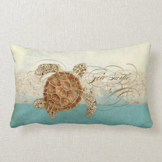 Sea Turtle Modern Coastal Ocean Beach Swirls Style Lumbar Cushion