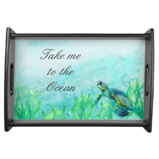 Sea Turtle Ocean Beach Art Elegant Tropical Custom Serving Tray