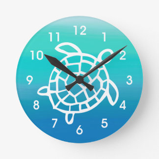 Sea Turtle Ocean Watercolors Wall Clock
