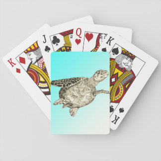 Sea Turtle on Aqua Blue Background Playing Cards