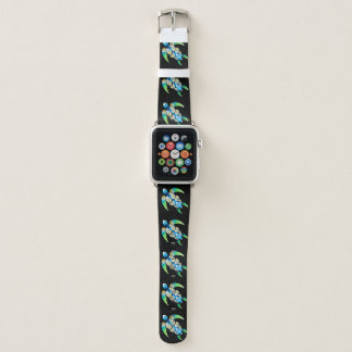 Sea Turtle On Black Apple Watch Band