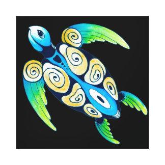 Sea Turtle On Black Canvas Print