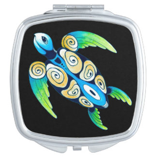 Sea Turtle On Black Compact Mirrors