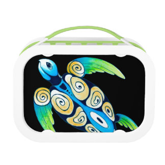 Sea Turtle On Black Lunch Box