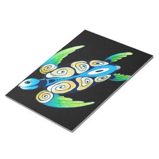 Sea Turtle On Black Notepad