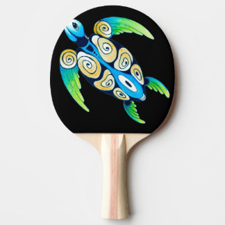 Sea Turtle On Black Ping Pong Paddle