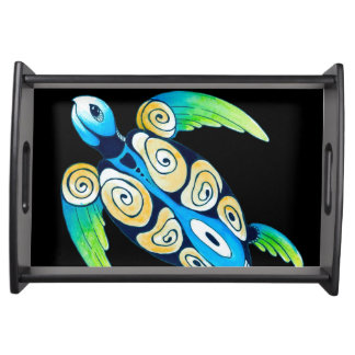 Sea Turtle On Black Serving Tray