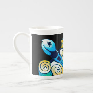 Sea Turtle On Black Tea Cup