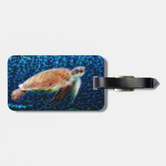 Sea Turtle on Blue Background Honu Bag Tag