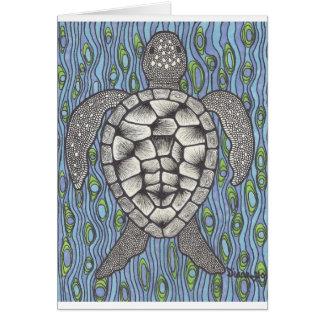 Sea turtle on blue card