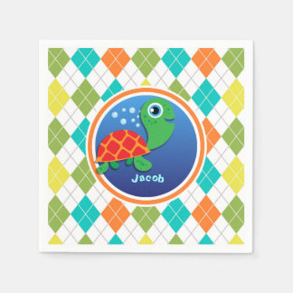 Sea Turtle on Colorful Argyle Pattern Paper Napkins