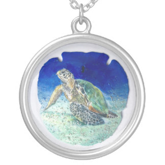 Sea Turtle on Sand Dollar Necklace