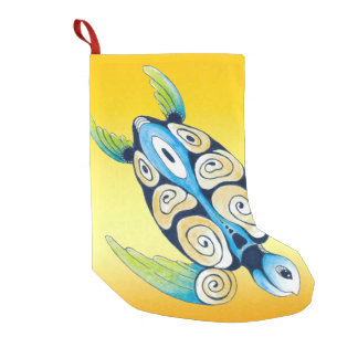 Sea Turtle On Yellow Small Christmas Stocking