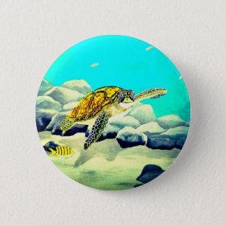 Sea Turtle Painting Beautiful Blue Sea 6 Cm Round Badge