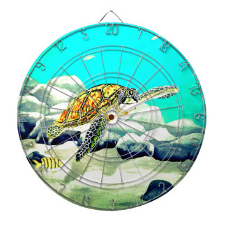Sea Turtle Painting Beautiful Blue Sea Dartboard