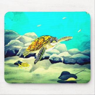 Sea Turtle Painting Beautiful Blue Sea Mouse Pad
