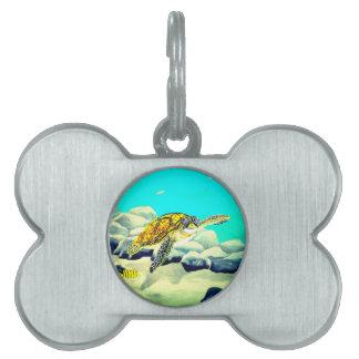 Sea Turtle Painting Beautiful Blue Sea Pet Tag