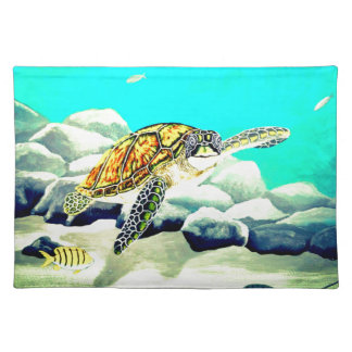 Sea Turtle Painting Beautiful Blue Sea Placemat