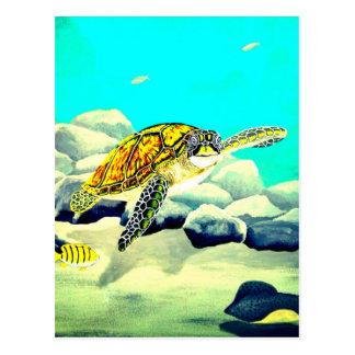 Sea Turtle Painting Beautiful Blue Sea Postcard
