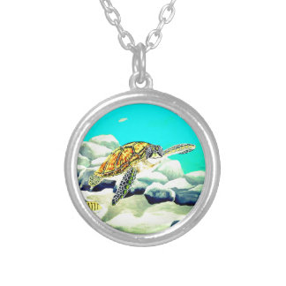 Sea Turtle Painting Beautiful Blue Sea Silver Plated Necklace