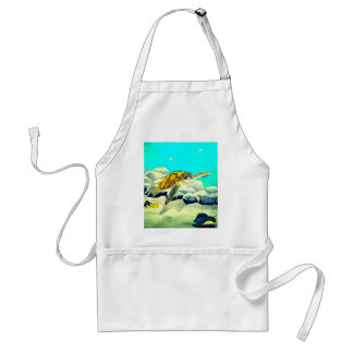 Sea Turtle Painting Beautiful Blue Sea Standard Apron