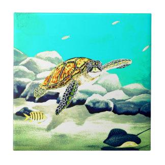 Sea Turtle Painting Beautiful Blue Sea Tile