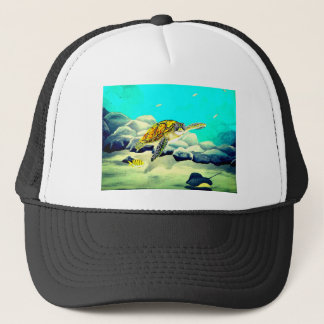 Sea Turtle Painting Beautiful Blue Sea Trucker Hat