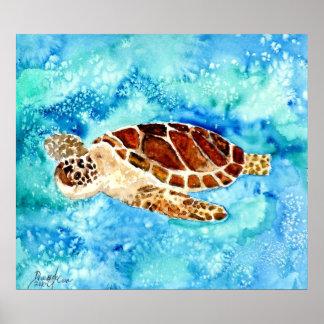 sea turtle painting print on canvas sealife art