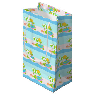 Sea Turtle Pink Aqua Small Gift Bag