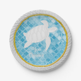 Sea Turtle Rope Blue Sea Glass Personalize Paper Plate