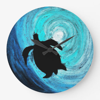 Sea Turtle Silhouette (K.Turnbull Art) Wall Clock